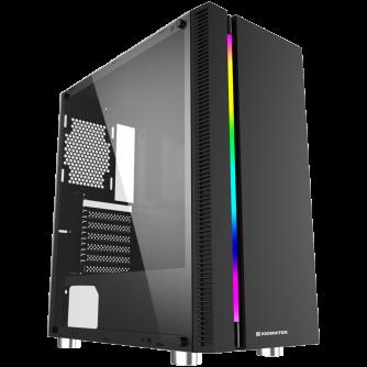 Chassis Apollo EN43125, ATX, M-ATX, Mini ITX, USB3.0x1 + USB2.0x2, Rainbow LED Stripe Frontpanel, Left Tempered Glass