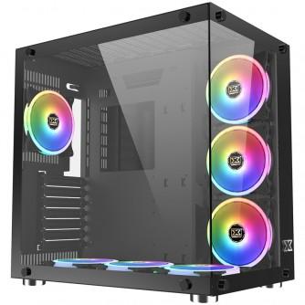 Chassis Aquarius Plus EN43354, ATX, M-ATX, Mini ITX, USB3.0x2 +USB2.0x1, Front & Left Tempered Glass, 7PCS CY120 RGB Fan, Frontx3+Bottomx3+Rearx1