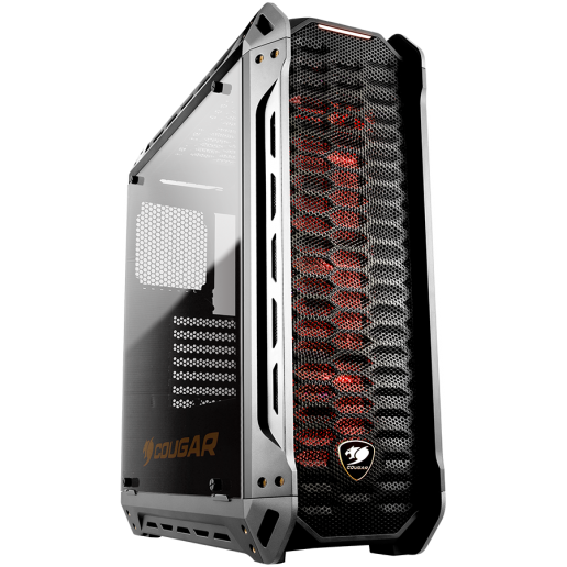 Chassis COUGAR PANZER-S, Mid-Tower, Mini ITX/Micro ATX/ ATX/CEB, Water cooling support, Max. Graphic Cards Length-425 (mm), Max. CPU Cooler Height-160 (mm), CM, Red LED 120mm x 3 (pre-installed)