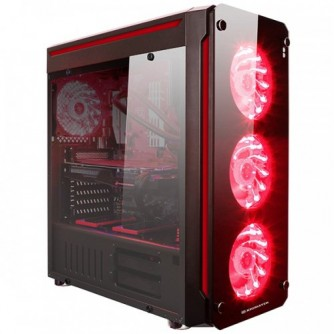 Chassis Glare 7A EN40131 TEMPERED DESIGN FRONT PANEL, ATX, Mini ITX, Micro ATX, USB 3.0x2, USB 2.0x2; HD Audio in/out jacks, Pre-install 120mm x 4 (15 RED LEDs per Fan), PSU Shroud, CPU Cooler - 160mm, VGA - 390mm, liquid cooling radiators compatible