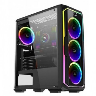 Chassis Leco Plus EN43453, ATX, Micro ATX, USB3.0x1, USB2.0x2, Left Tempered Glass ,2PCS Removeable TG&Meshed FP, 4PCS CY120, RGB Reset Switch,Frontx3 & Rearx1