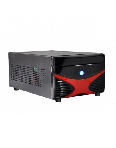 E-mini X5 Black/Red w/o PSU, Standard PSU, Dual Slot VGA and 2x 3.5 HDD compatible, Mini-ITX chassis