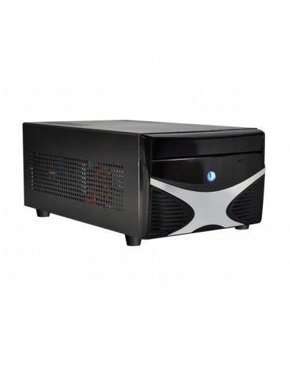 E-mini X5 Black/Silver w/o PSU, Standard PSU, Dual Slot VGA and 2x 3.5 HDD compatible, Mini-ITX chassis