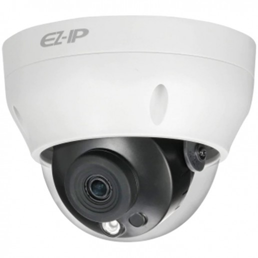 Dahua IP camera 2MP, mini-dome Water-prof, 1/2.7 CMOS, 1920×1080 Effective Pixels, H.265+, 30fps@1080P, Focal Length 2.8mm, 115° view angle, Max IR distance 30m, 0.09Lux/F2.0, 0Lux/F2.0 IR on, DC12V, PoE, 5.1W, IP67.