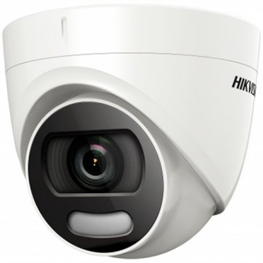 Hikvision HD-TVI 2MP Color Turret camera, 2MP high-performance CMOS, 1920x1080 Effective pixels, 25fps@1080p, 3.6 mm lens (Field of view 83.60°), White Light up to 20m IR distance, 0.0005 Lux@F1.0 (0 Lux IR on), IP66 weatherproof, 12V DC/3W.