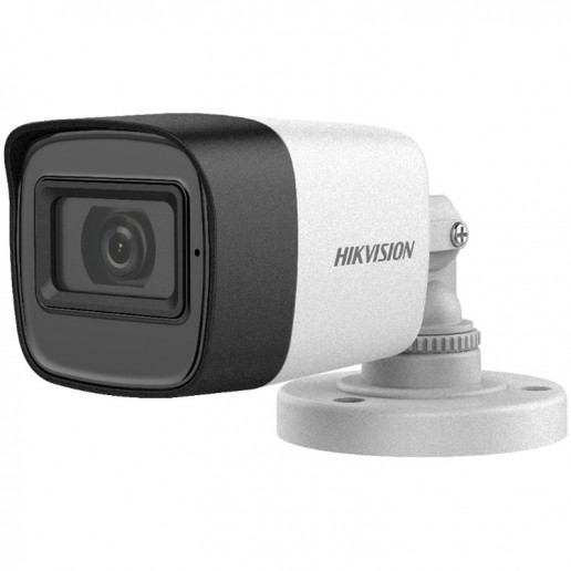 Hikvision HD-TVI Bullet camera, 2MP progressive Scan CMOS, 1920x1080 Effective pixels, build in Microphone, 25fps@1080p, 3.6 mm lens (Field of view 79.6°), up to 30m IR distance, 0.01 Lux@F1.2 (0 Lux IR on), IP67 weatherproof, 12V DC/3.7W