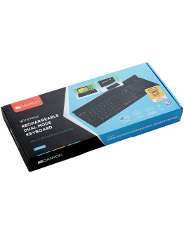 Bluetooth&2.4G wireless keyboard, max. 4 devices can be connected at same time, Bluetooth multi-device mode under Android, iOS, Win8 and Win10 system, touch panel with rubbery hand rest, US layout, Black, size:397x175.5x27 mm, 614g
