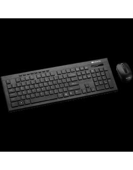 CANYON Multimedia 2.4GHZ wireless combo-set, keyboard 105 keys, slim and brushed finish design, chocolate key caps, BG layout (black); mouse adjustable DPI 800-1200-1600, 3 buttons (black)