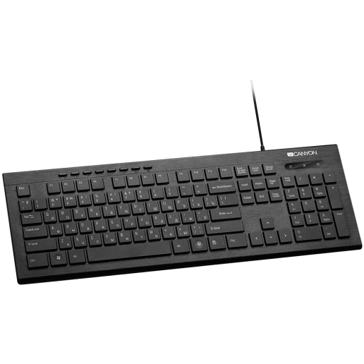 CANYON Multimedia wired keyboard, 105 keys, slim and brushed finish design, white backlight, chocolate key caps, BG layout (black)