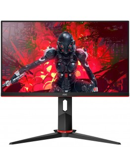 "AOC Monitor LED 24G2U IPS Gaming (23.8"", 16:9, 1920x1080, IPS, 144Hz, 250 cd/m², 1000:1, 20M:1, 1 ms, 178/178°, VGA, 2xHDMI, DP, 4 x USB 3.0, Speakers, Tilt, Swivel, H. Adjust, VESA, Frameless) Black-Red, 3y"
