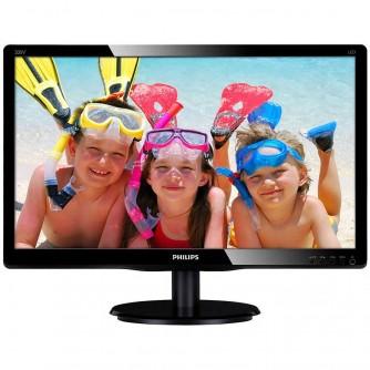 Monitor LED Philips 200V4QSBR/00, V-line, 19.53'' 1920x1080@60Hz, 16:9, MVA, 8ms, 250nits, Black, 3 Years, VESA100x100/VGA/DVI/
