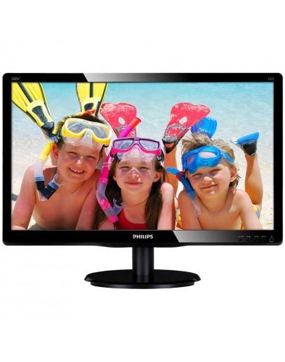 Monitor LED Philips 200V4QSBR/00, V-line, 19.53 1920x1080@60Hz, 16:9, MVA, 8ms, 250nits, Black, 3 Years, VESA100x100/VGA/DVI/