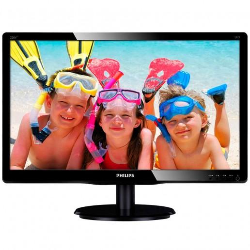 Monitor LED Philips 226V4LAB/00, V-line, 21.5 1920x1080@60Hz, 16:9, TN, 5ms, 250nits, Black, 3 Years, VESA100x100/VGA/DVI/