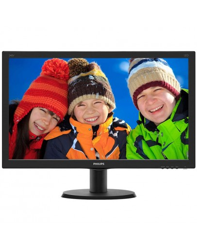 Monitor LED Philips 240V5QDAB/00, V-line, 23.8 1920x1080@60Hz, 16:9, IPS, 5ms, 250nits, Black, 3 Years, VESA100x100/VGA/DVI/HDMI/