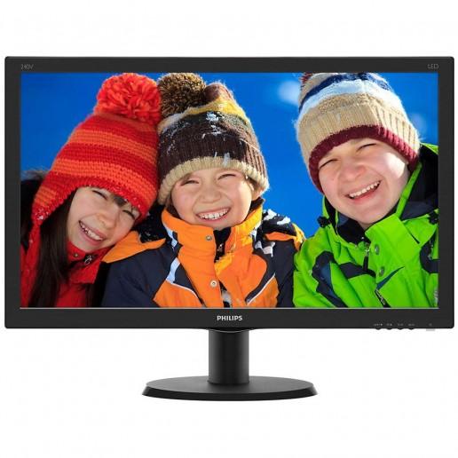 Monitor LED Philips 240V5QDAB/00, V-line, 23.8 1920x1080@60Hz, 16:9, IPS, 5ms, 250nits, Black, 3 Years, VESA100x100/VGA/DVI/HDMI/